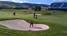 Matt Kuchar getting some bunker practice at a Practice day at The Ryder Cup 2014 | LTR Golf Trips