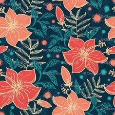 vibrant tropical flowers (detail) - (oksancia- spoonflower)