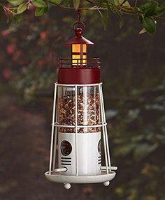Solar Lighthouse Bird Feeder (Red)