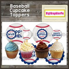 Happy Birthday Baseball 2 inch Cupcake Toppers, Jewelry, Keychains and more! by DigiGraphics4u on Etsy