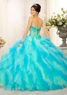 beautiful blue green quinceañera dress