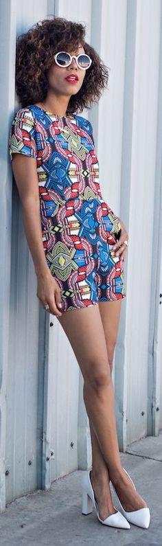 Boohoo Multicolored Tribal Print Belted Women's Romper by Style Me Grasie