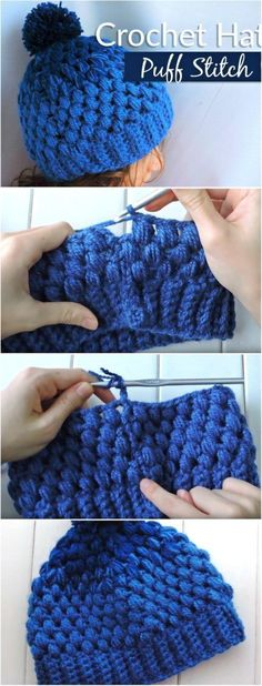 Puff Stitch Gradient Hat Free Crochet Pattern