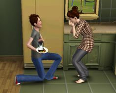 My sim proposed to his girlfriend while holding a salad.
