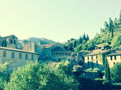 Situated in the narrow valley of the Gellone river where it meets the steep sided gorge of the Hérault River, Saint-Guilhem-le-Désert is essentially a medieval village located on the Chemin de St-Jacques (St. James's Way) pilgrim route to Santiago de Compostella.