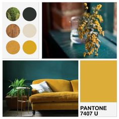 GREEN AND YELLOW INSPIRATION MOODBOARD VERT JAUNE MOUTARDE PANTONE CANAPE VELOURS