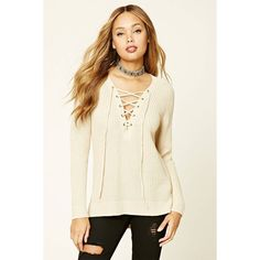 Forever21 Ribbed Knit Lace-Up Sweater (1,535 INR) ❤ liked on Polyvore featuring tops, sweaters, brown top, lace up sweater, brown sweater, long sleeve sweater and v neck long sleeve top