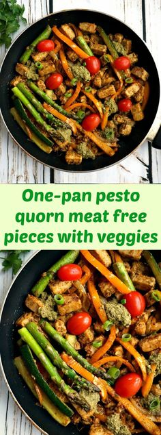One-pan pesto quorn meat free pieces with veggies a light vegetarian meal that is ready in under 30 minutes.