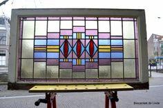 Prachtig en uniek glas in lood raam antiek - nr 76  - www.brocantiekdelinde.nl
