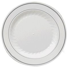 These Silver Banded Dinner Plates look like fine china, but suprisingly they are made of plastic. Each package contains twelve plastic plates. Chalkboard Party, Outdoor Chalkboard, Party Plates, Party Tableware, Dessert Plates, Wedding Dinner Plates, White Plastic Plates, Fine China, Plate Sets
