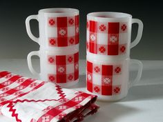 Vintage Coffee Cups Red Check Gingham Tablecloth Picnic Set Mugs Fired On Enamel Retro Mid Century 1960s MINT