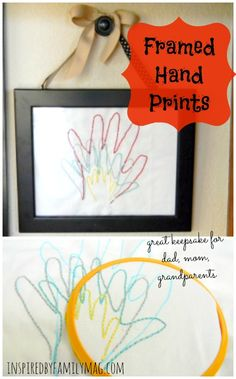 Embroidered Hand Prints Gift Idea this makes a great keepsake for mom, dad to put on his desk or for grandparents. It certainly warms my heart! It's super easy no major embroidery skills needed!