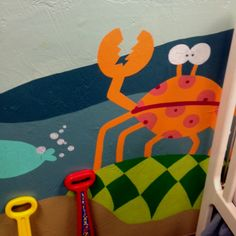 """""""Space Crab"""" in Under the Sea Mural I painted in church nursery."""