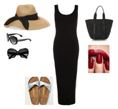 """""""Beach holiday outfit #5"""" by mrsminimalist on Polyvore featuring WearAll, Alexander Wang, Eugenia Kim, Ray-Ban and Birkenstock"""