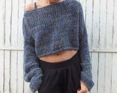 adb8b4c8fef Cropped sweater Denim blue sweater Women mohair sweater Handknit sweater  Soft wool sweater Oversized soft sweater