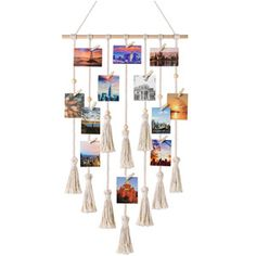 Mkono Hanging Photo Display Macrame Wall Hanging Pictures Organizer Boho Home Decor, with 30 Wood Clips Photo Wall Hanging, Photo Wall Decor, Hanging Pictures, Polaroid Display, Tween Girl Gifts, Tween Girls, Wooden Clothespins, Boho Living Room, Living Area