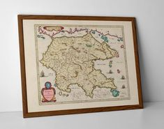 Old Map of Peloponnese, originally created by Willem Janszoon Blaeu, now available as a 'museum quality' wall decor print. Old World Maps, Vintage World Maps, Patras, Historical Maps, Argos, Greek Islands, Travel Posters, Greece, Wall Decor