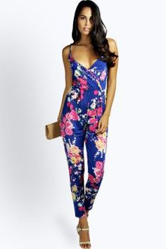 21e404c56b97 Millie Cami Style Wrap Floral Jumpsuit at boohoo.com Tribal Print Pattern