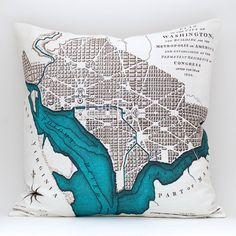 Love these pillows with nautical or antique maps... picturing D.C., Florida Gulf Coast, and Australia?