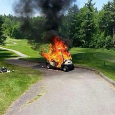 Golf course golf cart fire whoops