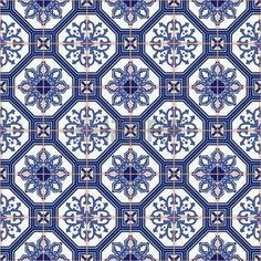 Gorgeous seamless pattern from dark blue and white Moroccan, Portuguese tiles, Azulejo, ornaments. Blue Moroccan Tile, Moroccan Pattern, Oriental Pattern, Tile Wallpaper, Pattern Wallpaper, Tile Patterns, Fabric Patterns, Patchwork Tiles, Pop Stickers