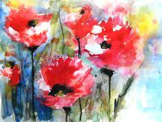 "Saatchi+Online+Artist+Karin+Johannesson;+Painting,+""Field+Poppies+IV""+#art"