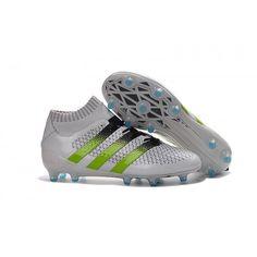 new style fd503 e833d Adidas ACE 16.1 Primeknit FG AG Chaussure De Foot Blanc Vert Noir Bleu  Nouvelles Chaussures Adidas