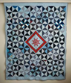 Blue Patchwork Quilt Nautical Quilt Full by SewingLadyQuiltings
