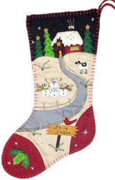 Happy Snowman Family with Cabin Holiday Christmas Stocking (18 Inch)
