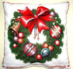 Decorative Christmas Pillows, Christmas Wreath, Red Pillows, Green Pillow , Christmas Decor, Pillow With Both Sides, Great Christmas Gifts.