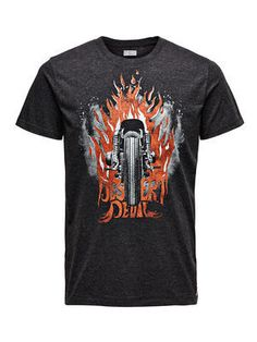 BIKER PRINT SLIM FIT T-SHIRT, Dark Grey Melange