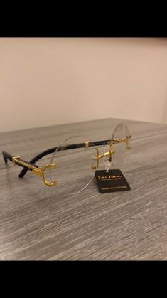 9b484b32d8804 Cartier OVAL Glasses Clear Lens New Black Arm Gold Frame Wood Look Rimless   fashion  clothing  shoes  accessories  mensaccessories ...