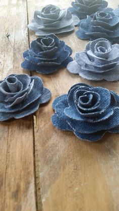 Denim Flower Denim Rose Burlap and Denim Flower Country | Etsy