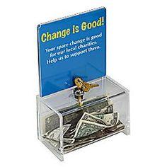 """Lock Donation Box $15.77  6-1/2""""w x 4""""h x 3-5/8""""d"""