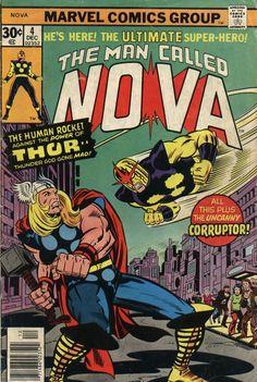 Human Rocket - Thor - Crossover - Corrupter - Hammer - Adi Granov, Jack Kirby Nova 4 marvel comics covers the man called Marvel Girls, Marvel Comics Superheroes, Marvel Comic Books, Comic Book Heroes, Marvel Characters, Comic Books Art, Comic Art, Thor Marvel, Comic Book Girl
