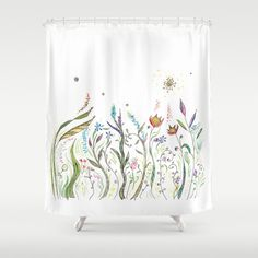 Floral Shower Curtain - La Primavera - Fabric - beautiful bathroom ideas, check this out Decor, Floral Bath Mats, Pure White Background, Spring Decor, Floral Shower Curtains, Curtains, Colorful Decor, Beautiful Bathrooms, Small Bathroom Makeover