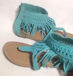 Minnetonka Gladiator Aqua Fringe Sandals Size 8 #Minnetonka #Gladiator