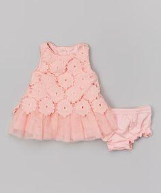 Pink Flower Eyelet Dress & Diaper Cover - Infant & Toddler #zulily #zulilyfinds