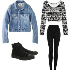teenager outfit I have leggings that Mach the black and white shirt