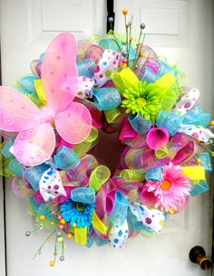 Items similar to Spring Wreath - Spring Deco Mesh - Easter Deco Mesh Wreath - Deco Mesh Easter Wreath - Door Hanging - Wall Decor - Summer Wreath on Etsy Wreath Crafts, Diy Wreath, Wreath Ideas, Tulle Crafts, Wreath Making, Summer Wreath, Spring Wreaths, Deco Mesh Wreaths, Ribbon Wreaths