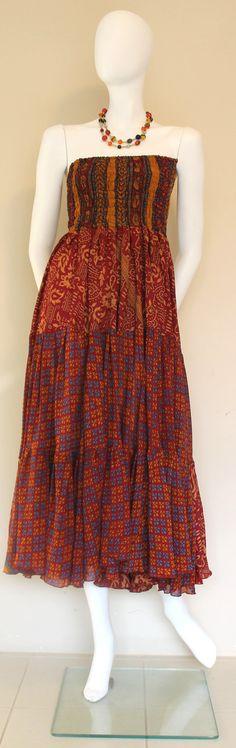 Tube Dress  Vintage silk / Silk Dress / Red by SilkinaFashions