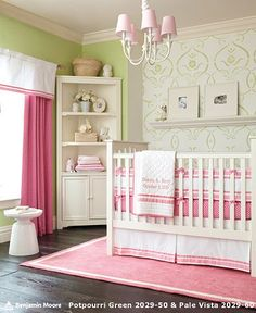 Pottery Barn Kids: Pink Harper Nursery Bedding with Green Wall Design. Nursery Bedding Sets, Nursery Room, Girl Nursery, Girls Bedroom, Nursery Ideas, Girl Bedding, Room Ideas, Nursery Pictures, Quilt Bedding