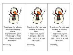 I Love My Classroom: Parent Helper Gifts
