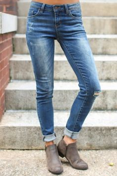 Well Traveled Medium Blue Distressed Skinny Jeans at reddressboutique.com