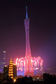 Canton Tower    Location: Guangzhou, China	  When built: 2010; Height: 600 м