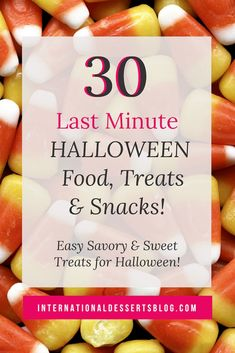 Looking for last minute Halloween food ideas? Here are 30 quick and easy, cute and scary ideas for snacks, treats, drinks, and desserts that both kids and adults will love. Perfect for your Halloween party! Dessert Blog, Fall Dessert Recipes, Easy Cookie Recipes, Fall Recipes, Halloween Treats For Kids, Halloween Desserts, Halloween Party, Yummy Cookies, Scary
