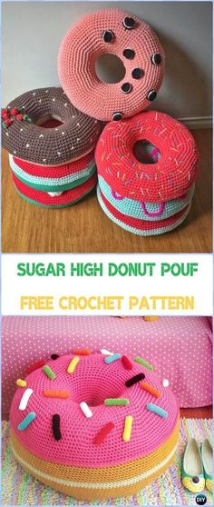 Crochet Sugar High Donut Pouf Free Pattern - Crochet Poufs & Ottoman Free Patterns