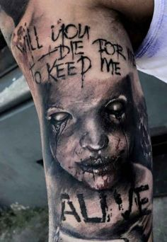Demons Tattoo with font  - http://tattootodesign.com/demons-tattoo-with-font/  |  #Tattoo, #Tattooed, #Tattoos