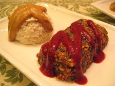 raw meatloaf with plum ketchup mashed cauliflower with miso gravy by tofu666, via Flickr