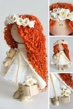 Orange doll handmade, cloth doll, fabric doll, textile doll, art doll